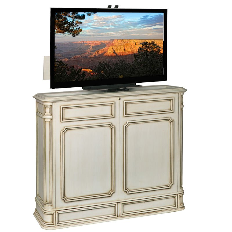 Crystal Pointe 360 Swivel Weathered White TV Lift Cabinet